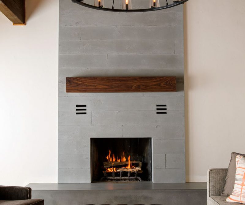 concrete-boardformed-fireplace surround-hearth